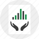 data, graph, hand icon