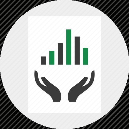 data, graph, hand icon