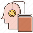 audio, book, education, head, knowledge, online, school icon