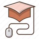 education, graduation, hat, knowledge, online, school icon