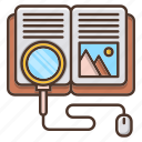 book, education, knowledge, online, school, search icon