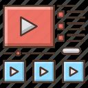 education, knowledge, online, school, tutorials, video icon