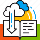 book, cloud, learning, library, online, reading, technology icon