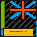 book, flag, language, learning, read, study, translate icon