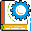 book, education, gear, knowledge, learning, reading, studying icon
