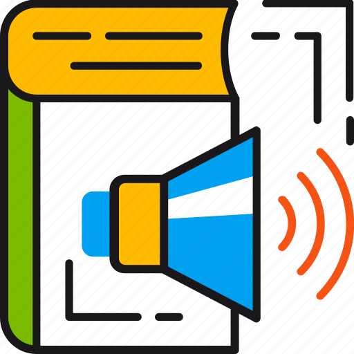 audio, book, education, multimedia, sound, speaker, technology icon