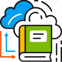 book, cloud, learning, library, online, reading, server icon