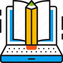 education, knowledge, laptop, learning, online, pencil, study icon