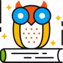 book, education, knowledge, owl, smart, study, wise icon