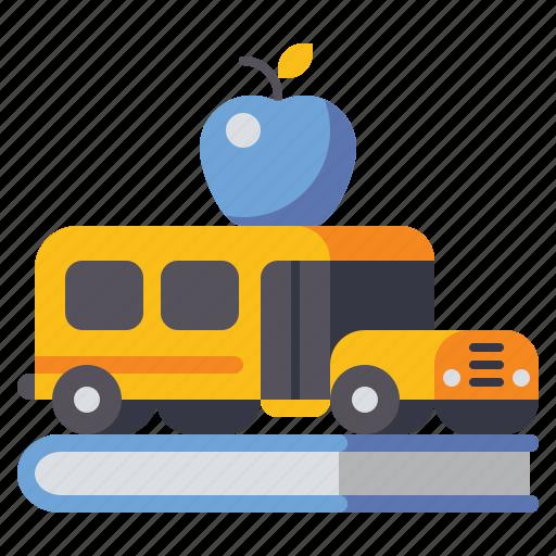 book, bus, education, school icon
