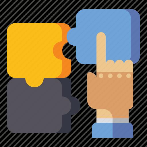 creative, hand, puzzle, solution icon