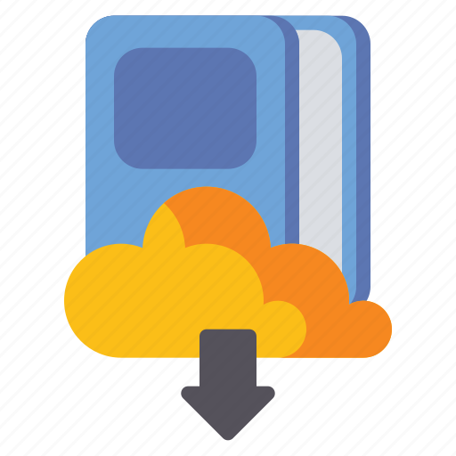 book, cloud, download, literature icon