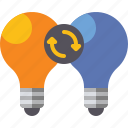 bulb, exchange, idea, ideas icon