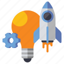 bulb, idea, innovation, rocket