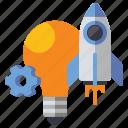 bulb, idea, innovation, rocket icon