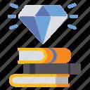 book, diamond, knowledge, wealth icon