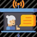 broadcast, education, live, webinar icon