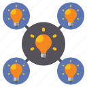 bulb, creative, mapping, mind icon