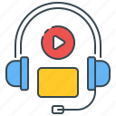audio, course, listen, listening, multimedia, podcast, skills icon
