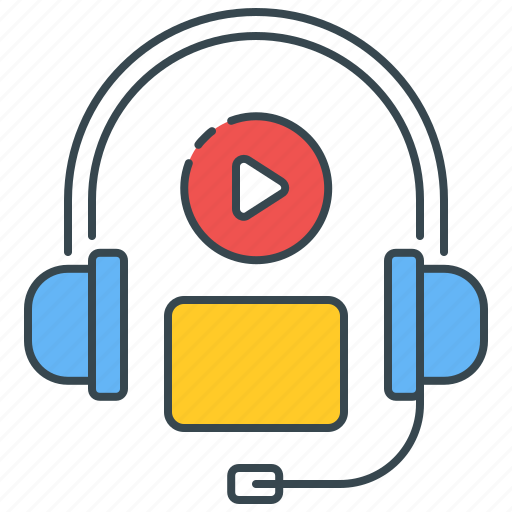 audio, course, listen, listening, multimedia, podcast, skills icon