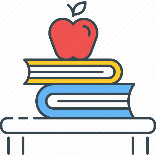 apple, back to school, books, kindergarten, learning, study, textbook icon
