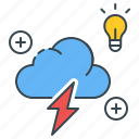brainstorm, brainstorming, charge, cloud, idea, light bulb, thunder icon