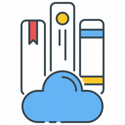 Cloud, library, digital, ebook, books, book, online icon