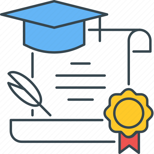 cert, certificate, certification, certified, degree, diploma, graduation icon