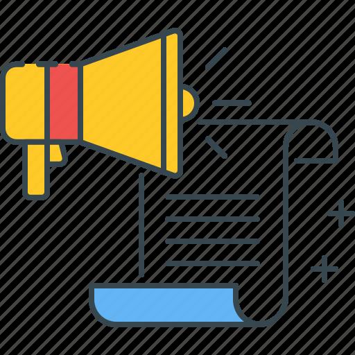 Marketing, educational, loudspeaker, document icon - Download