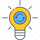 creativity, exchange, ideas, innovation, light bulb icon