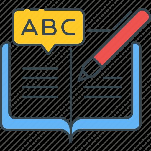 alphabet, foreign, language, learning, study, studying, teaching icon