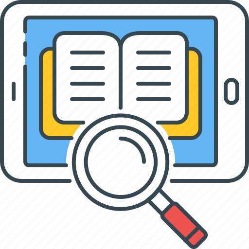 access, ebook, knowledge, mobile, reader, search, tablet icon