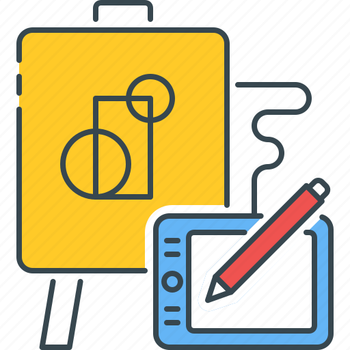 Modern, art, graphic, design, drawing, tablet, creative icon