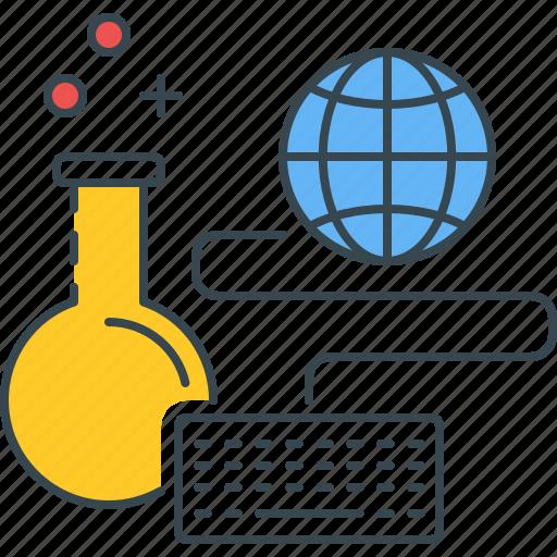chemistry, experiment, internet, online, sandbox, tests, web icon