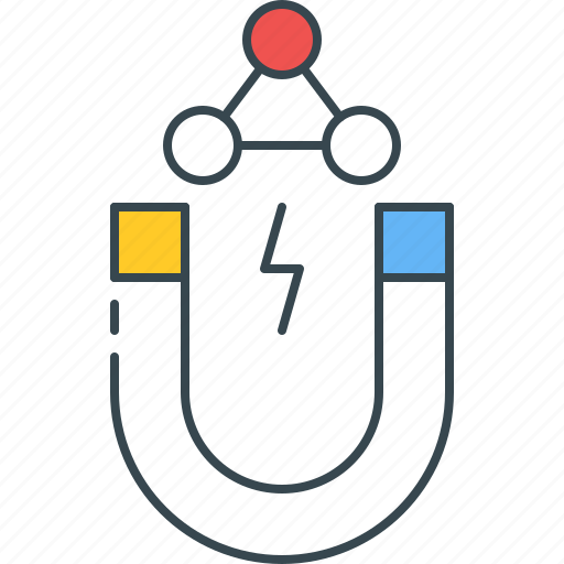 atom, attract, attraction, magnet, magnetic, magnetism, physics icon