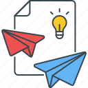 sharing, ideas, delivery, paper plane, light bulb, send icon