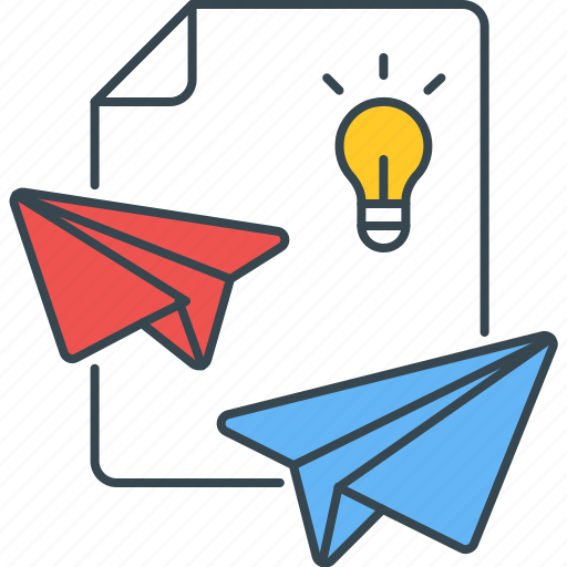 delivery, ideas, light bulb, paper plane, send, sharing icon