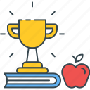 apple, book, development, education, knowledge, skill, trophy icon