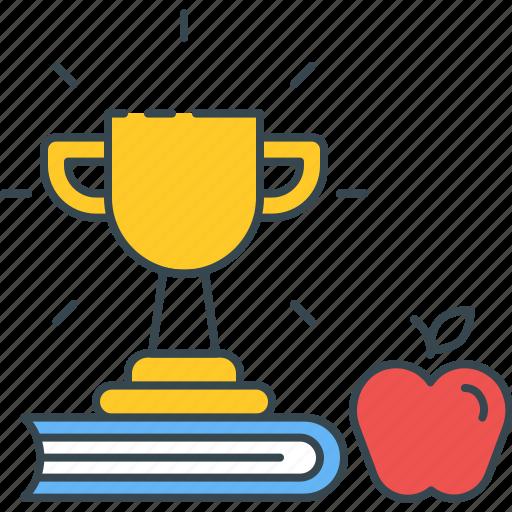 apple, book, development, education, knowledge, skill, trophy icon