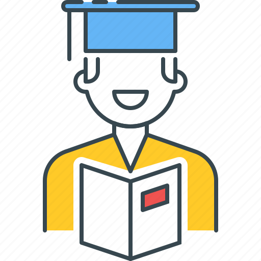 academic, education, graduate, male, mortarboard, scholar, student icon