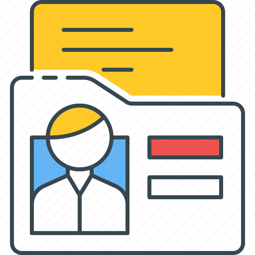 Profile, student, bio, folder, biography, file, information icon