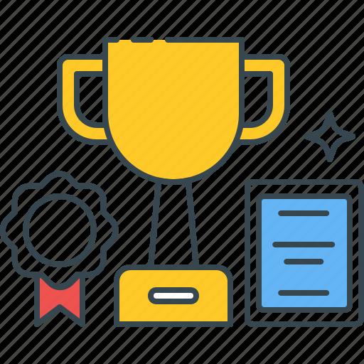 achievement, award, certificate, degree, study, success, trophy icon