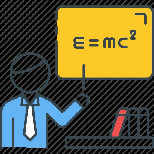 classroom, einstein, equation, professor, science, teacher, teaching icon