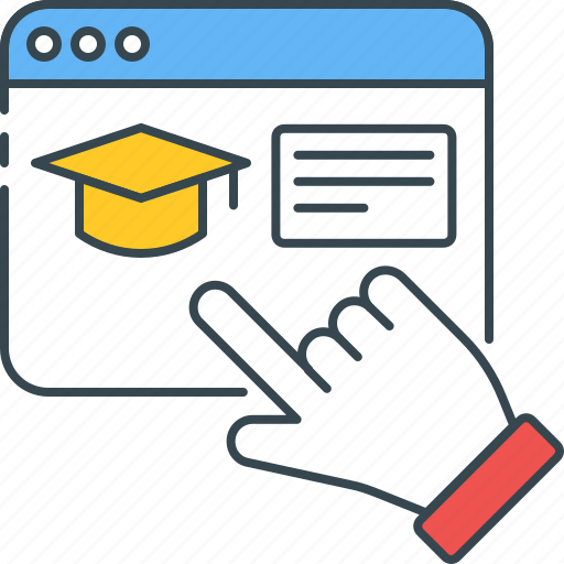 education, graduate, graduation, learning, mortarboard, online, virtual icon