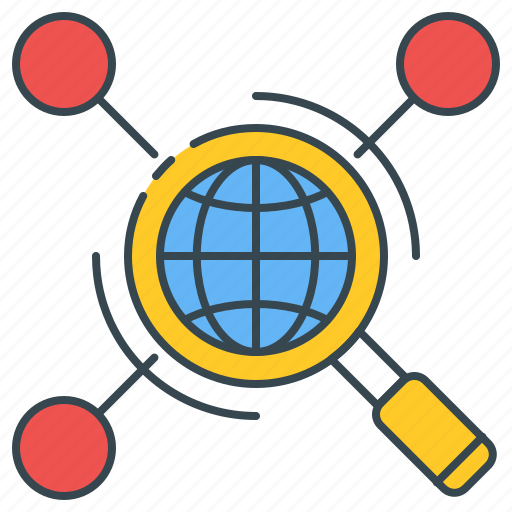glass, magnifying, network, research, search, web icon