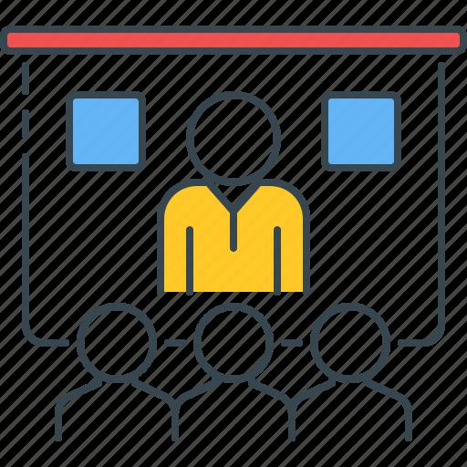 classroom, lecture, online, presentation, seminar, tutorial, webinar icon