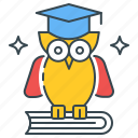 bird, education, knowledge, learning, owl, school, wisdom icon