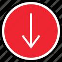 arrow, down, internet, online, web icon