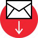 arrow, down, email, internet, online, web icon