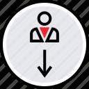 arrow, down, internet, online, send, user, web icon
